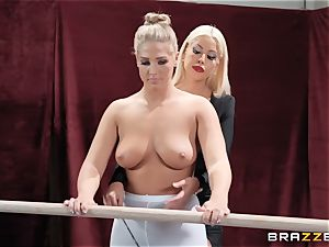 lesbians Bridgette B and Val Dodds mighty poon gobbling after ballet