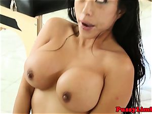 Bigtitted asian bi-atch plumbed rough from behind