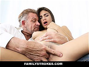 young Latina sandwiched by stepdad and stepbro