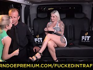 pounded IN TRAFFIC - spunky blondes car triangle pulverizing