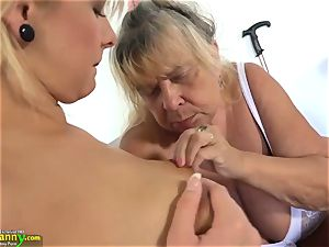 OLDNANNY nubile lady and her meaty bra-stuffers and humid fuckbox