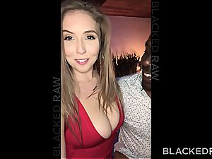 Lena has to satisfy two dark-hued sausages in failed dual date