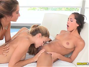 Eva Lovia, Ryan Ryans and Chloe Amour licking each others honeypots and cabooses