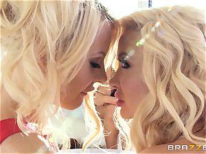 3 blonde lesbian pummeling