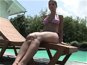 Roasting Eve Angel flashes off her mind-blowing assets pool side