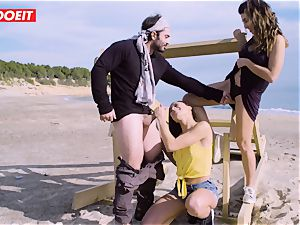 LETSDOEIT - sex industry stars tear up a fortunate stud at the Beach