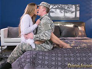 Dane Jones rock hard deepthroating and fuckin' sloppy Army wifey