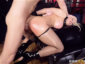 caged greased up stunner Luna star beaten ball-sac deep in the booty