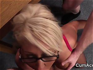 Wacky hottie gets cum shot on her face licking all the spunk