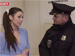 Immigration officer gets wet gash instead of the visa
