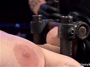 Alt chesty sub in contraption bondage buttfuck