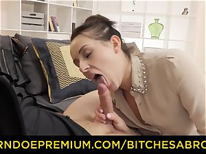 sluts ABROAD - dark haired tourist minx rides ginormous meatpipe