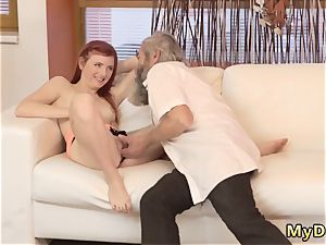 While parent sees and elderly man bangs xxx unexpected practice with an elder gent