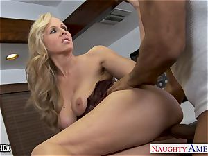 blonde instructor Julia Ann banging a big black cock