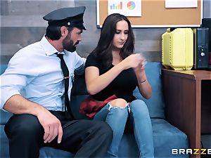 Ashley Adams takes on cop knob