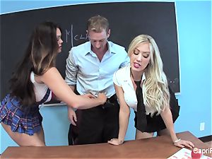 2 crazy students have fun with their schoolteacher