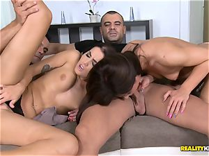 kinky foursome with scorching sumptuous brunettes Regina Crystal and Lauren