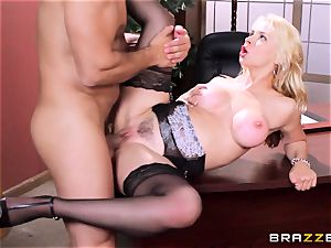 Sarah Vandella caught being ultra-kinky in the office