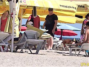 steaming Amateurs topless spycam Beach - uber-sexy yam-sized bra-stuffers honies