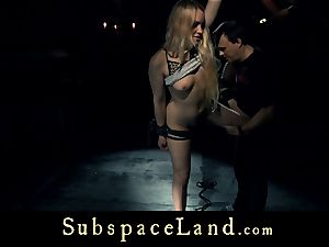 victim damsel towheaded pleasured and penalized in obedience