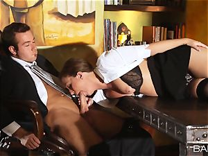 Maddy OReilly is penetrated over the desk by the chief