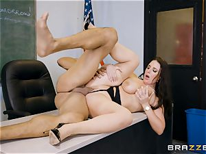 instructor Angela white crammed sack deep in her classroom