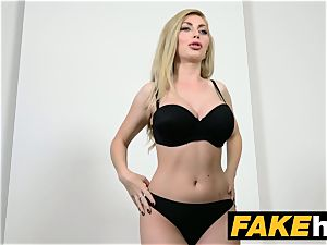 faux Agent scorching towheaded hefty bra-stuffers Russian gets a facial