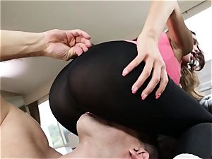 ginormous bum latina August Ames gets her swarthy cooch smashing through stretch pants