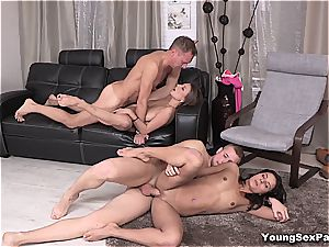 jaw-dropping youthful Russians having 4some