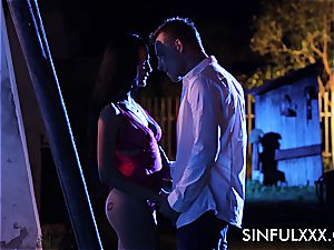 sultry outdoors date for a couple that enjoys to sneak out