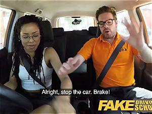 fake Driving school dark-hued american minx Kira Noir