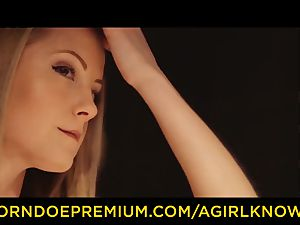 A female KNOWS - damsel on dame glamour desire hookup