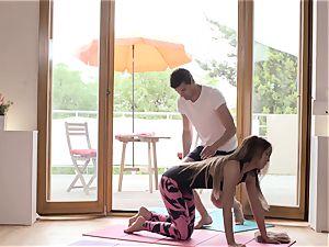 Relaxxxed - Czech Angela Christin romping after yoga