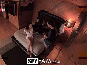SPYFAM curious Step sister spits over boner images
