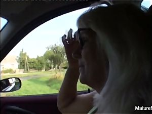 blondie grandmother gets some jizm on her glasses