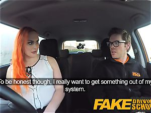 faux Driving college magnificent ginger-haired lusts after big man sausage