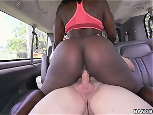 Smoking steaming black babe picked up on the BangBus