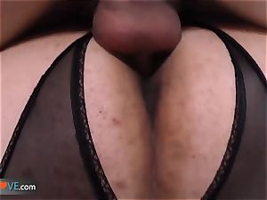 AgedLove chubby mature is smashing on couch