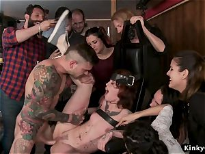 Alt red-haired smashed in group in public