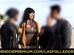 LAS FOLLADORAS - gorgeous performer gets jizm in hatch