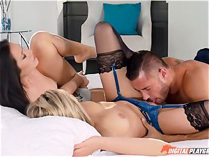 Mia Malkova and Eva Lovia crave stiff cock and share cum