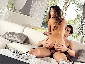 stunning Eva Lovia is instructing her boyfriend some manners before the party