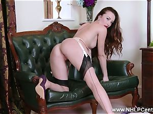 babe peels off to nylons high-heeled slippers to toy her cunny