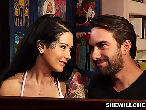 tatted wifey Cheats On elder husband With steamy manmeat