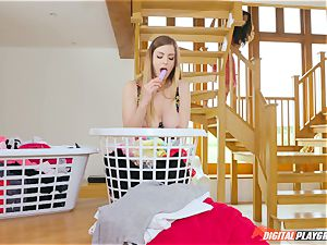 cooch groping adorable Eva Lovia and Stella Cox messing in the laundry