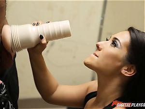 Eva Lovia deepthroats yam-sized schlong and porked in her honeypot pie and creamed inside