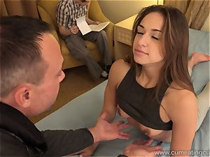Sara Luvv Cuckolds Her husband and Makes him blow fuck-stick