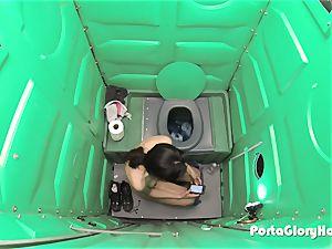 Porta Gloryhole cougar hones her bj skills in public