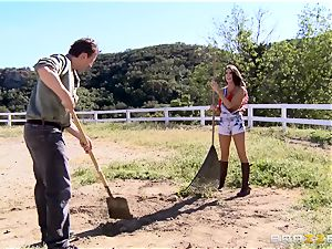 August Ames gets her bosoms creamed outdoors