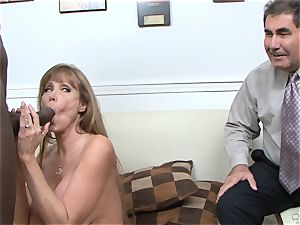 Darla Crane tears up ebony meatpipe before her husband cleans up